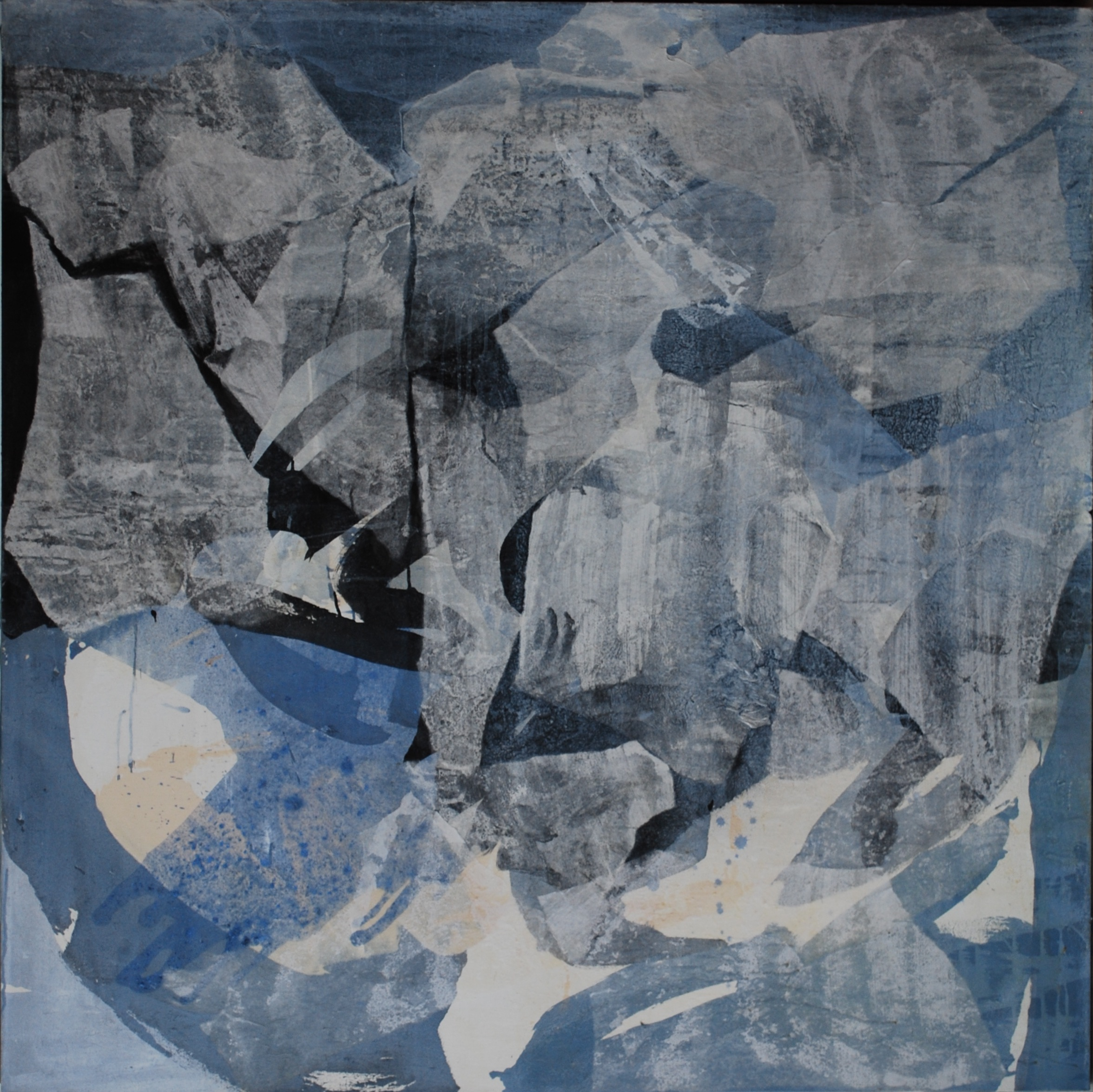 SoHyun Bae, Wrapped Shards #5, 2002, rice-paper and pure pigment on canvas, 60 x 60 inches