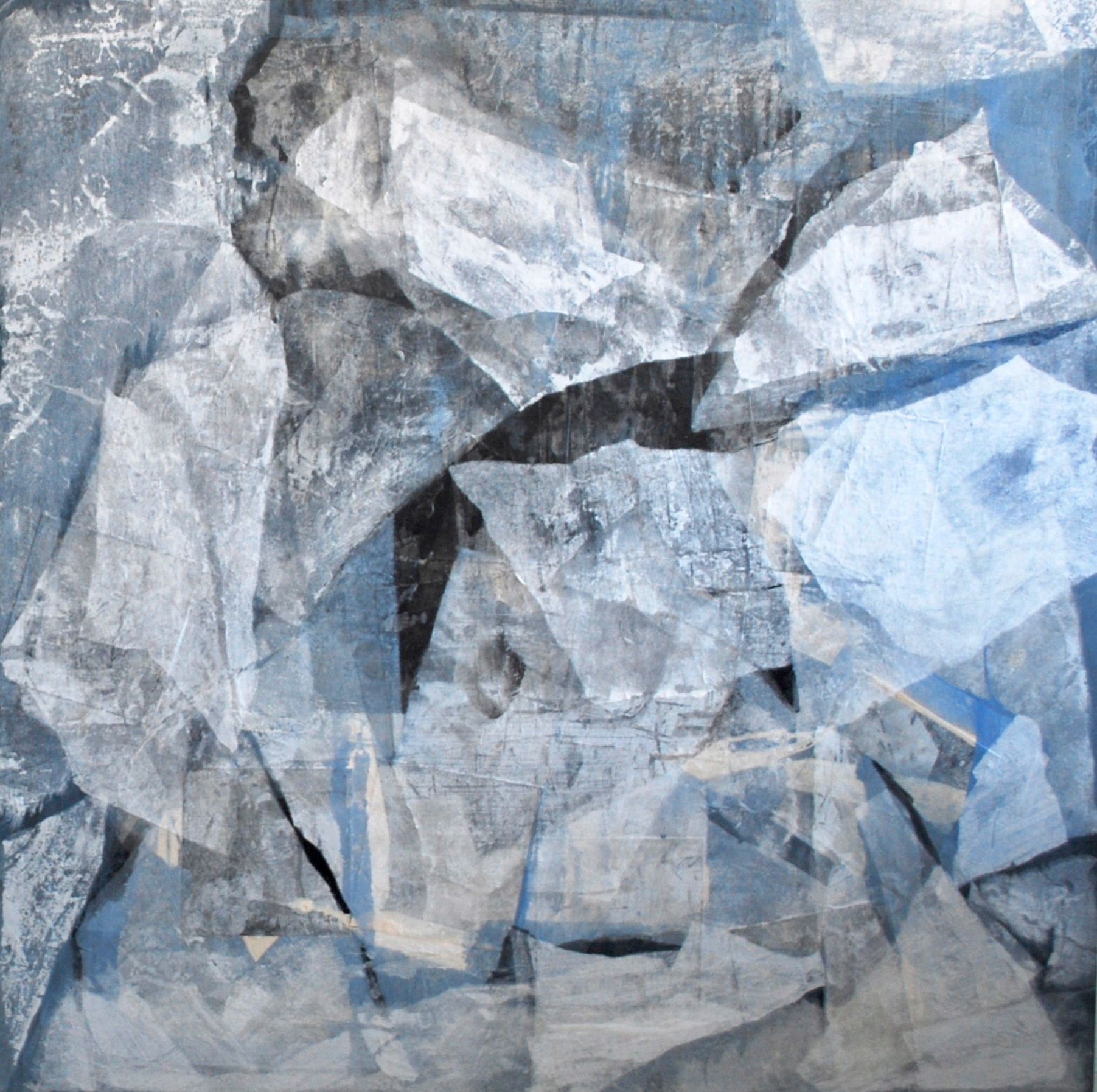 SoHyun Bae, Wrapped Shards #6, 2002, rice-paper and pure pigment on canvas, 60 x 60 inches