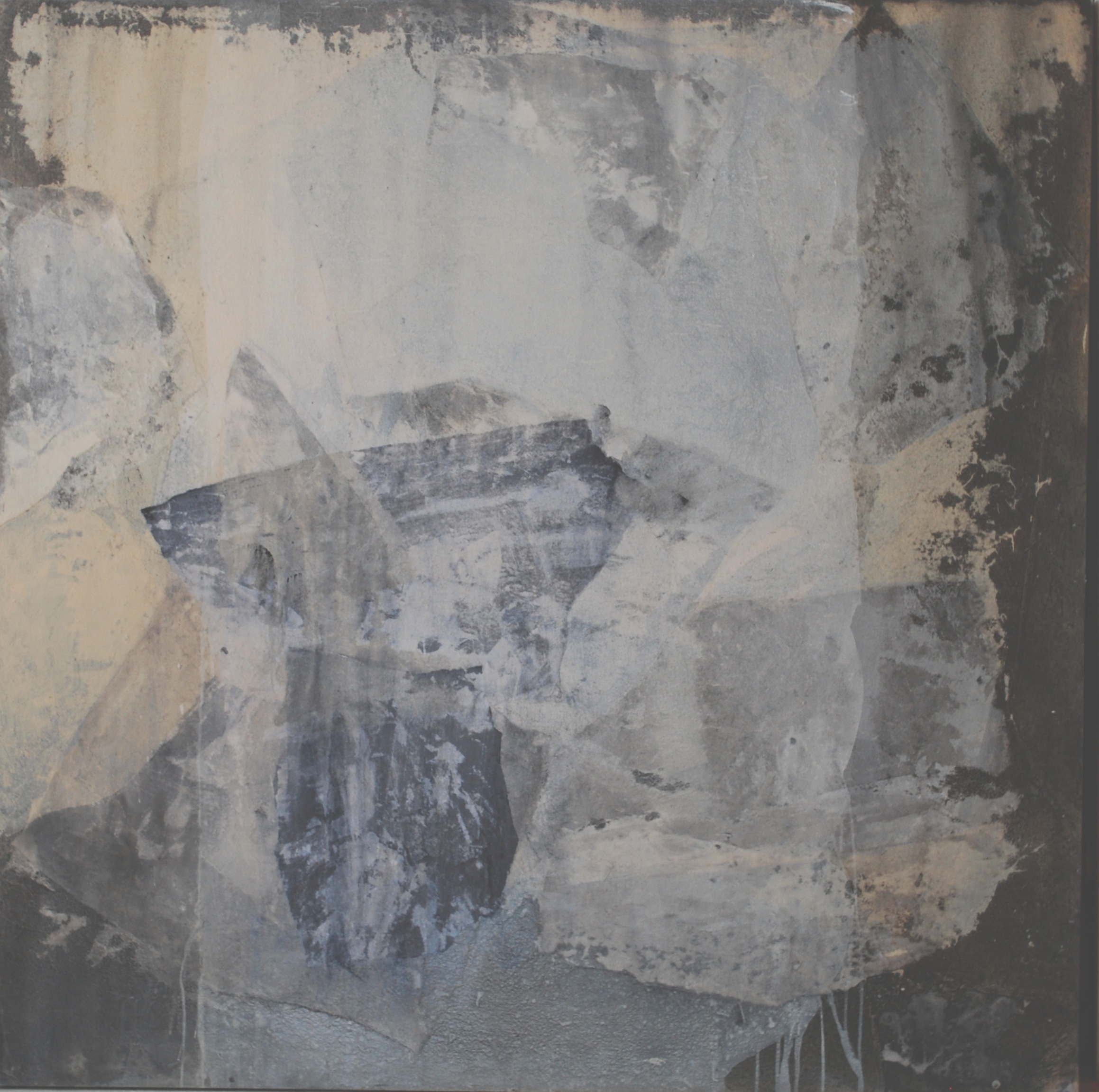 SoHyun Bae, Wrapped Shards #8, 2002, rice-paper and pure pigment on canvas, 60 x 60 inches