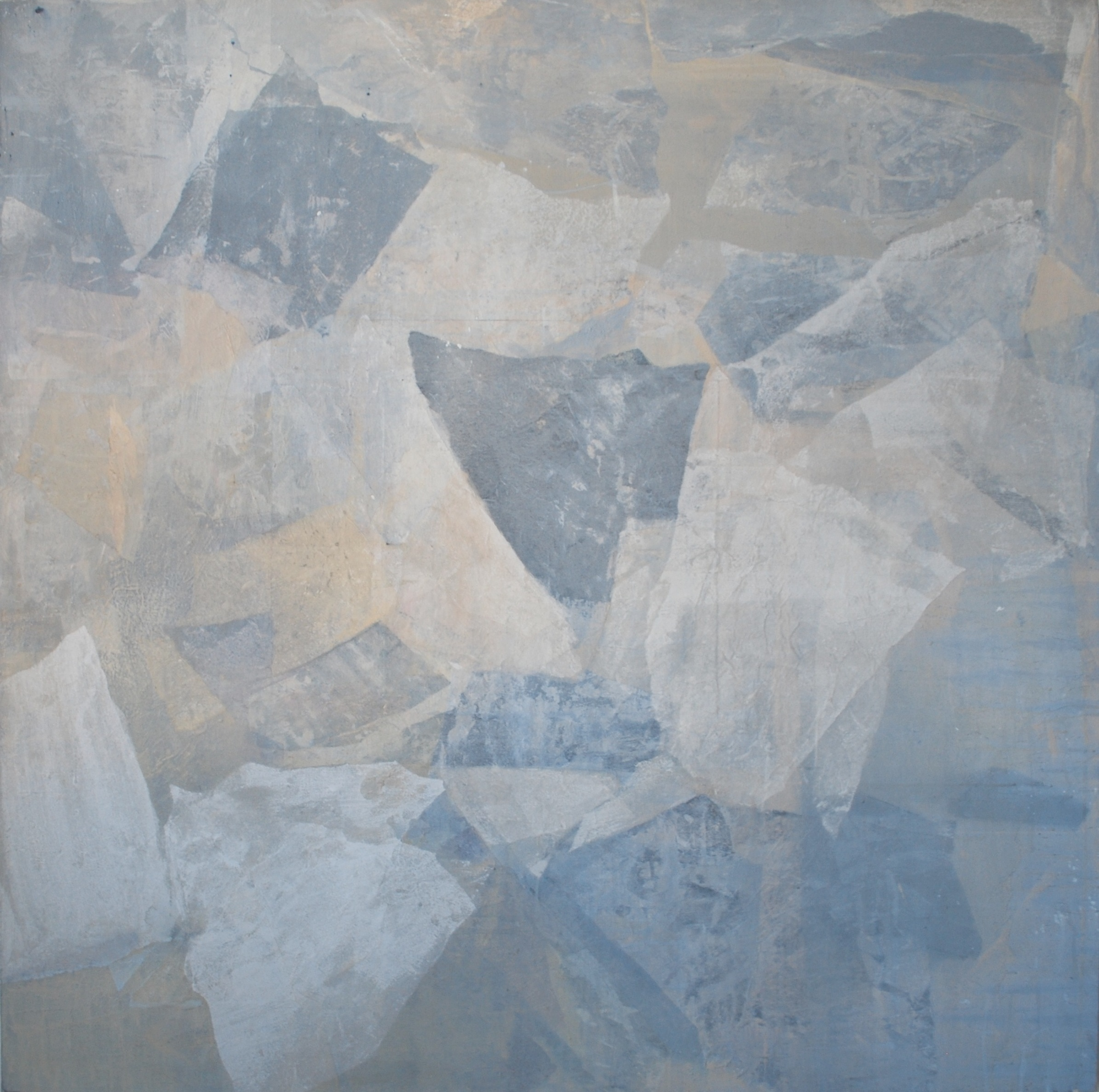 SoHyun Bae, Wrapped Shards #9, 2002, rice-paper and pure pigment on canvas, 60 x 60 inches