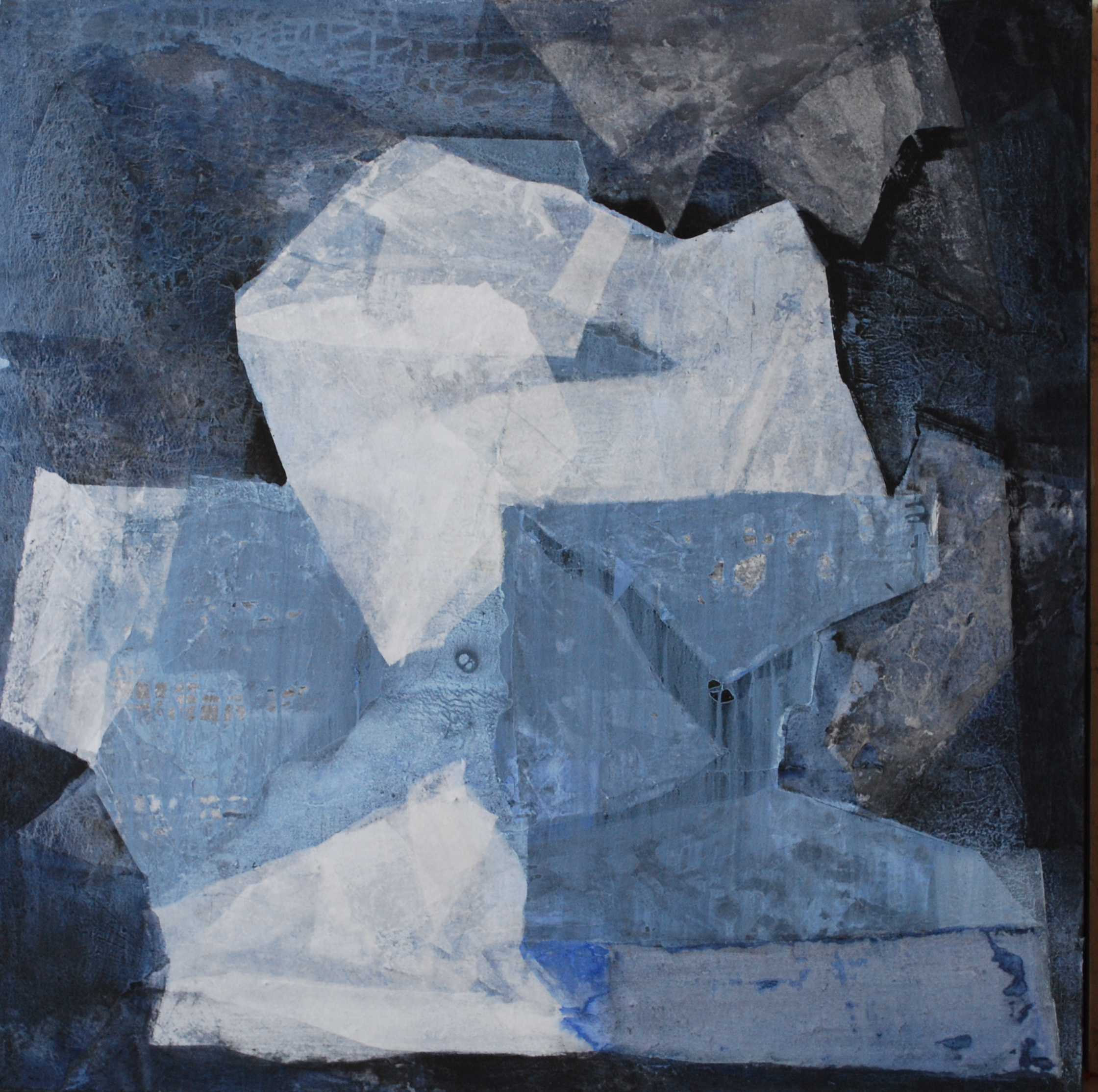 SoHyun Bae, Wrapped Shards #11, 2002, rice-paper and pure pigment on canvas, 60 x 60 inches