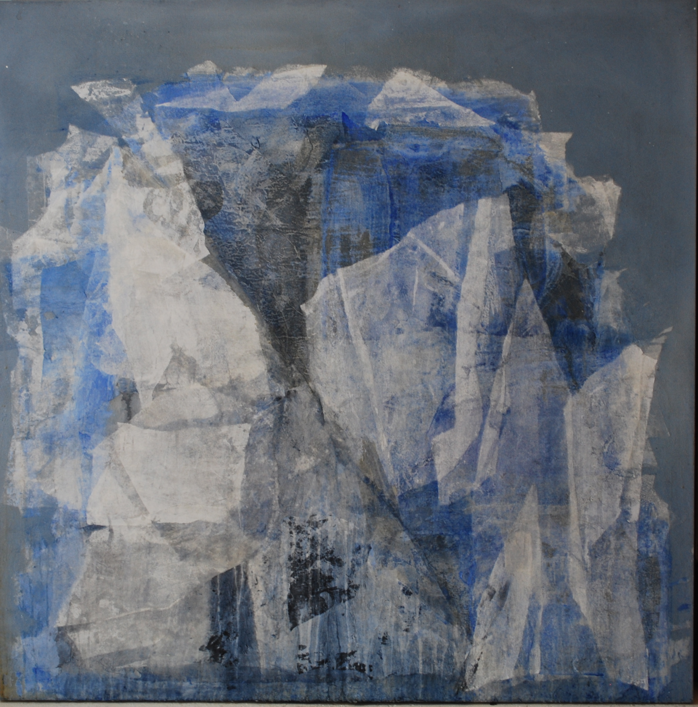 SoHyun Bae, Wrapped Shards #12, 2002, rice-paper and pure pigment on canvas, 60 x 60 inches