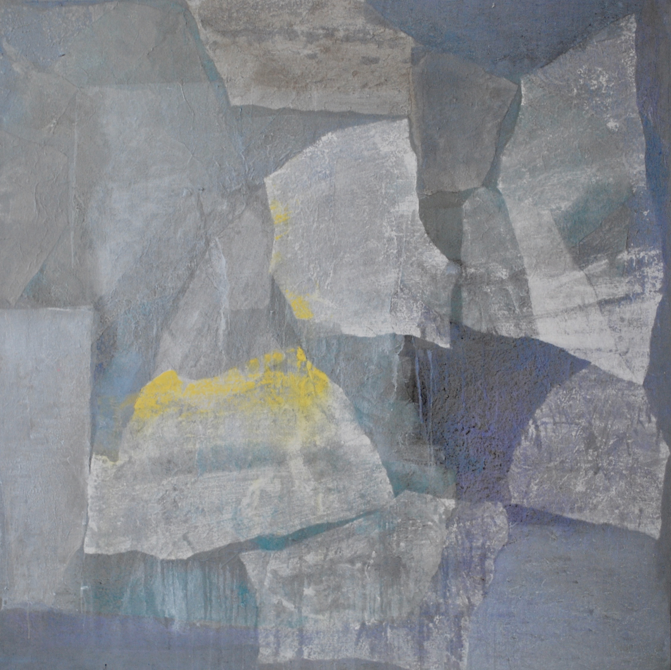 SoHyun Bae, Wrapped Shards #13, 2002, rice-paper and pure pigment on canvas, 60 x 60 inches