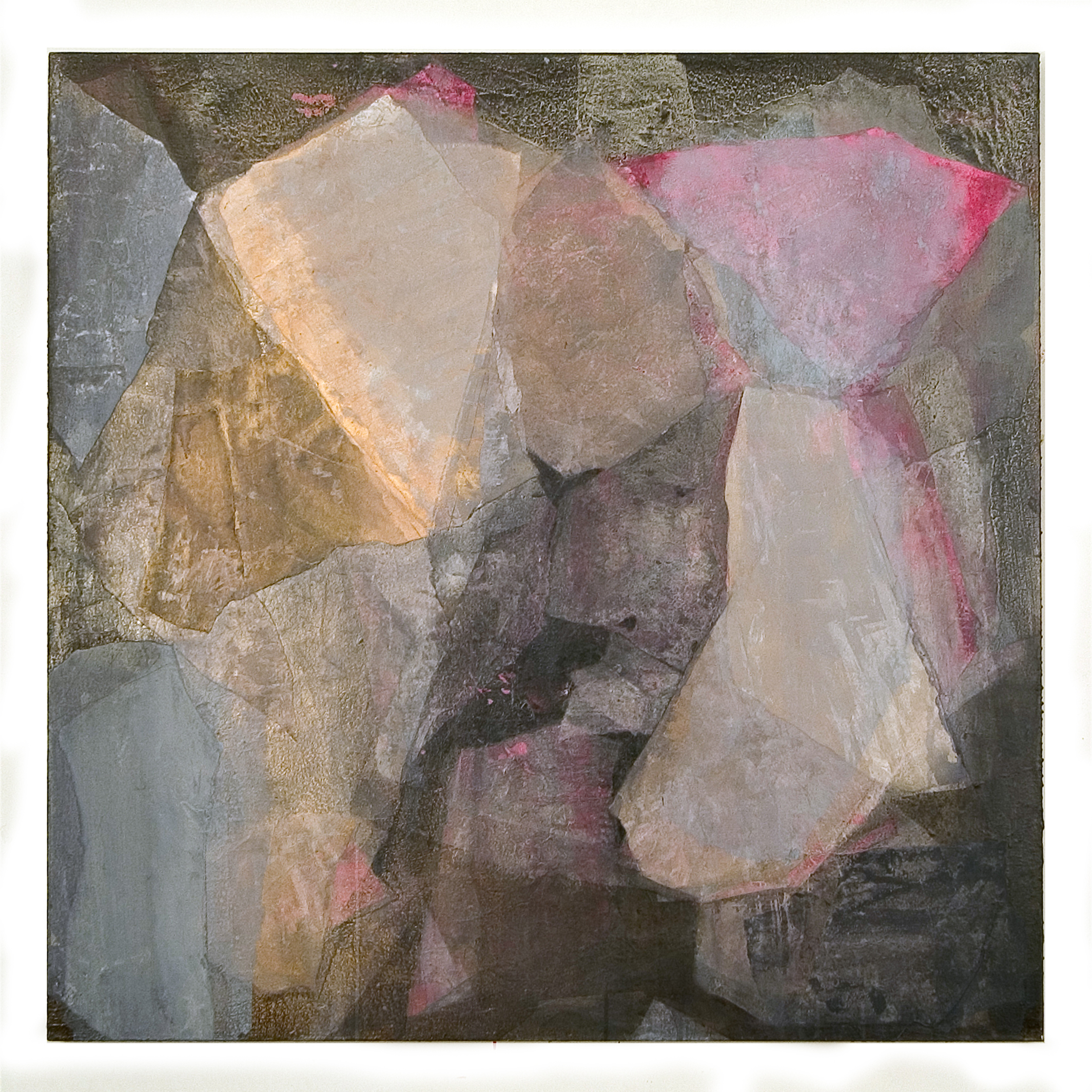 SoHyun Bae, Wrapped Shards #14, 2002, rice-paper and pure pigment on canvas, 60 x 60 inches