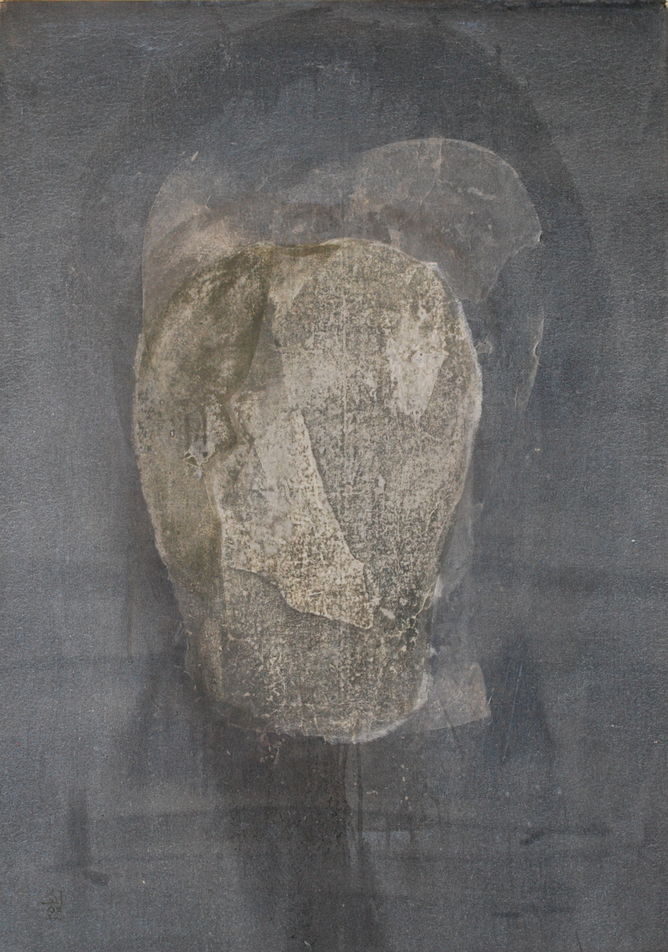 SoHyun Bae, Wrapped Shards: Vessel #1, 2003, rice-paper and pure pigment on canvas, 40 x 30 inches
