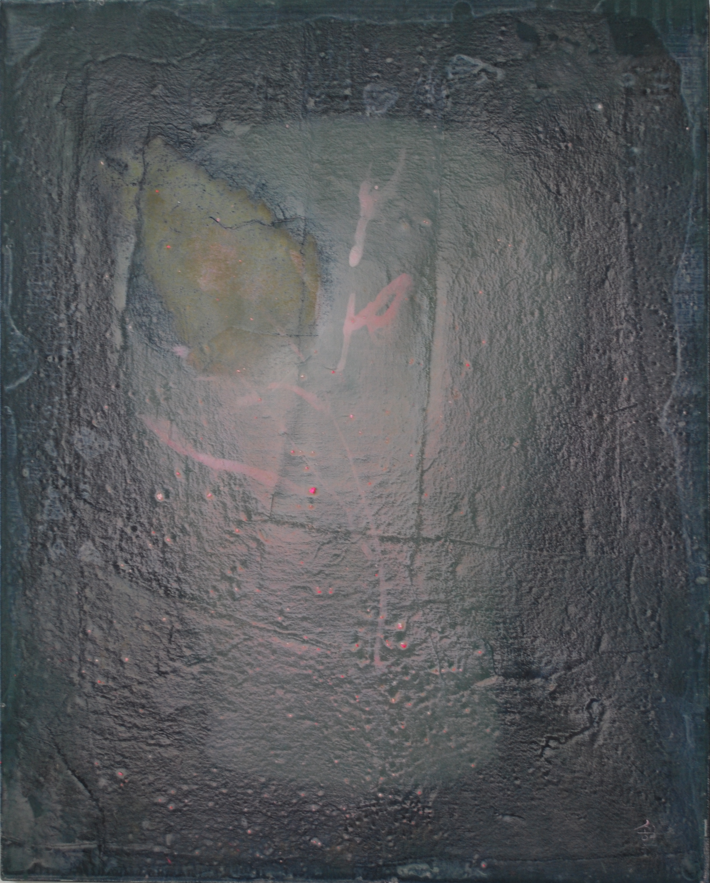 SoHyun Bae, Wrapped Shards: Vessel #3, 2003, rice-paper and pure pigment on canvas, 30 x 24 inches