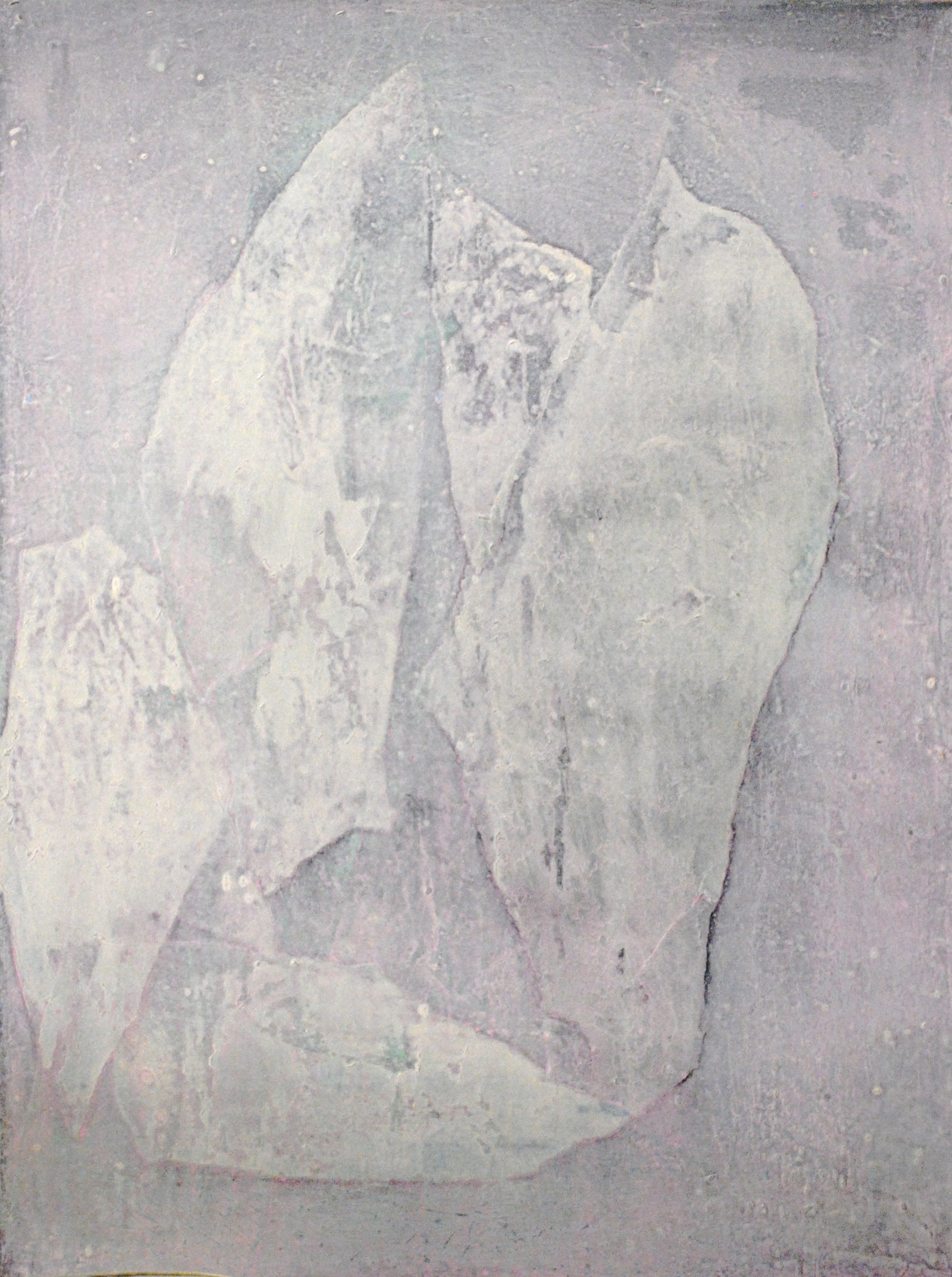 SoHyun Bae, Wrapped Shards: Vessel #4, 2003, rice-paper and pure pigment on canvas, 40 x 30 inches