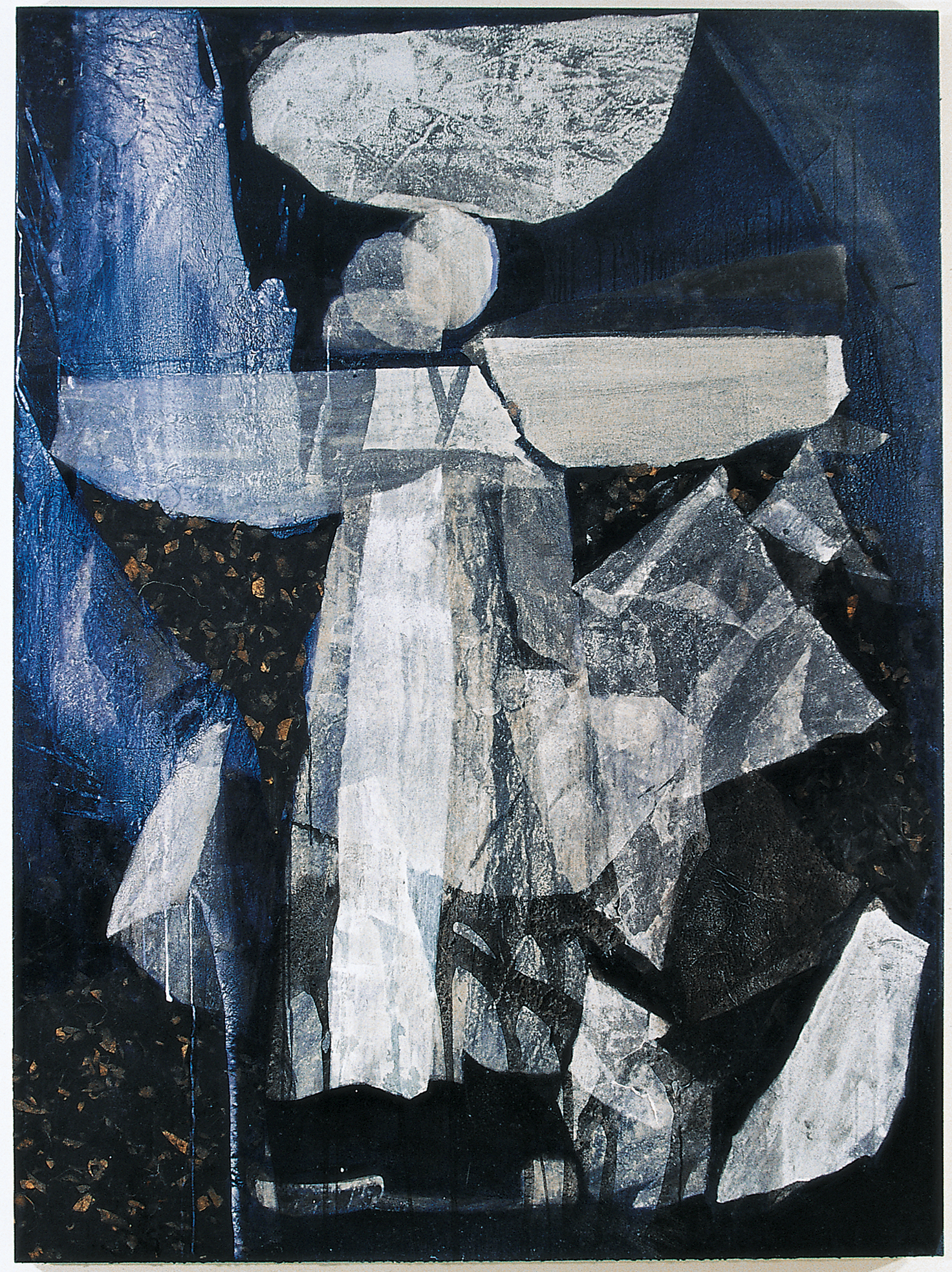 SoHyun Bae, Wrapped Shards: Egg Woman II, 2003, rice-paper and pure pigment on canvas, 81 x 60 inches