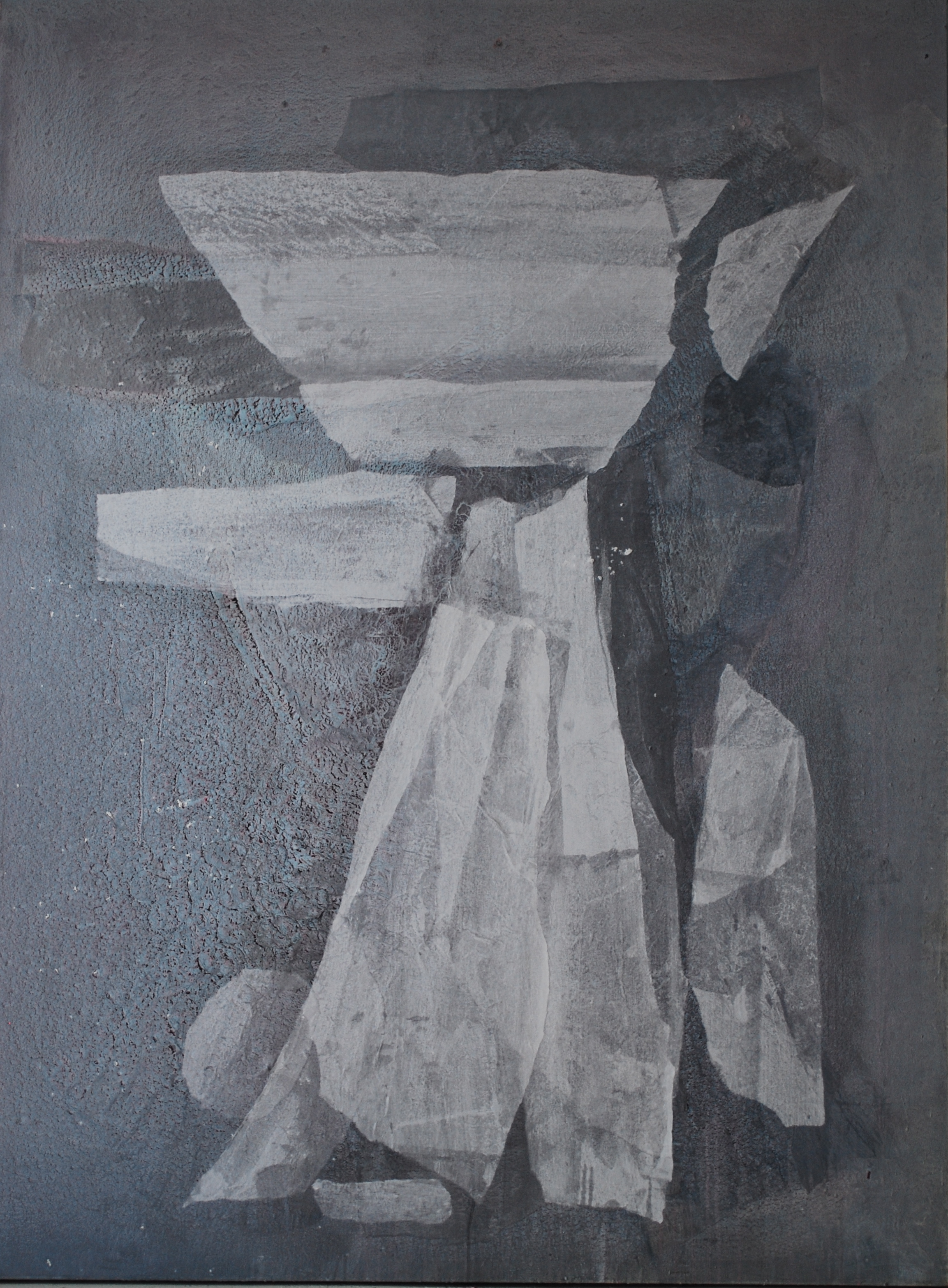 SoHyun Bae, Wrapped Shards: Egg Woman III, 2003, rice-paper and pure pigment on canvas, 81 x 60 inches