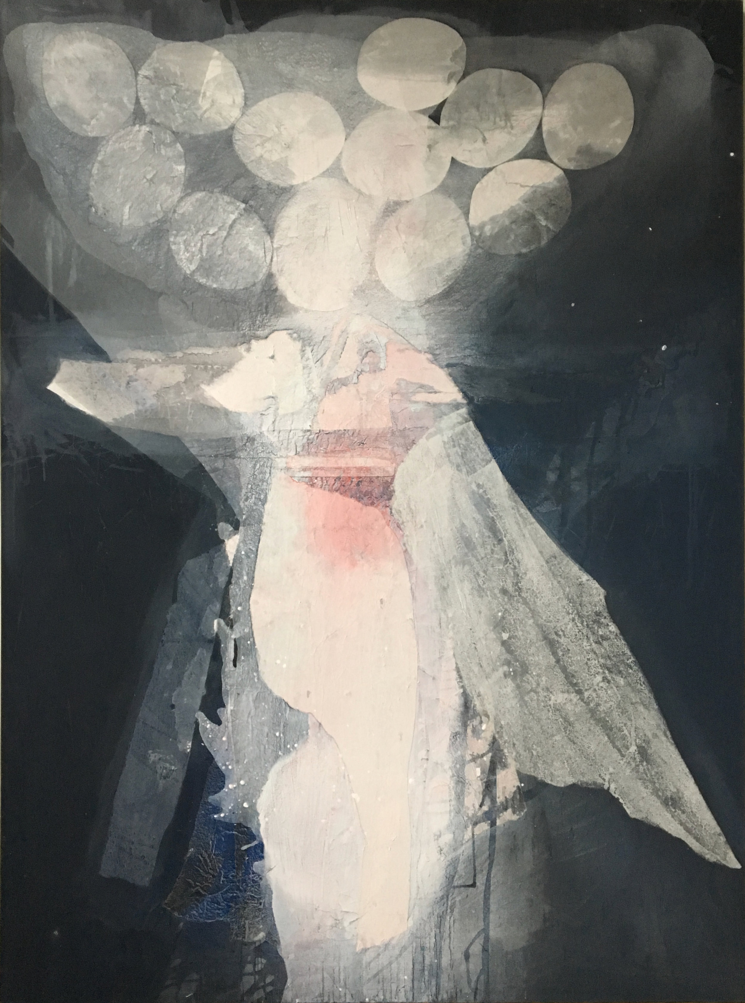 SoHyun Bae, Wrapped Shards: Egg Woman V, 2003, rice-paper and pure pigment on canvas, 81 x 60 inches