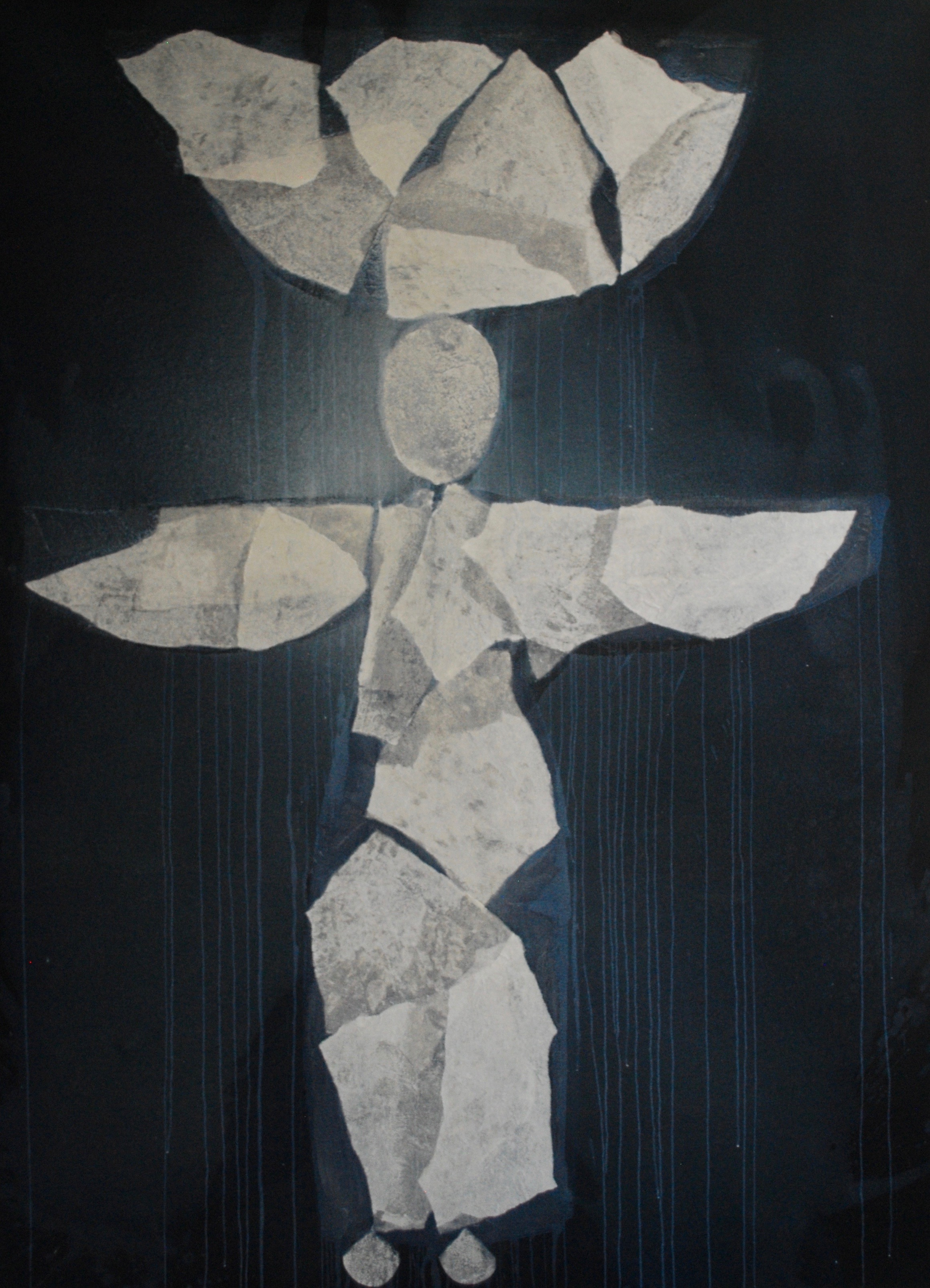 SoHyun Bae, Wrapped Shards: Egg Woman VII, 2003, rice-paper and pure pigment on canvas, 81 x 60 inches