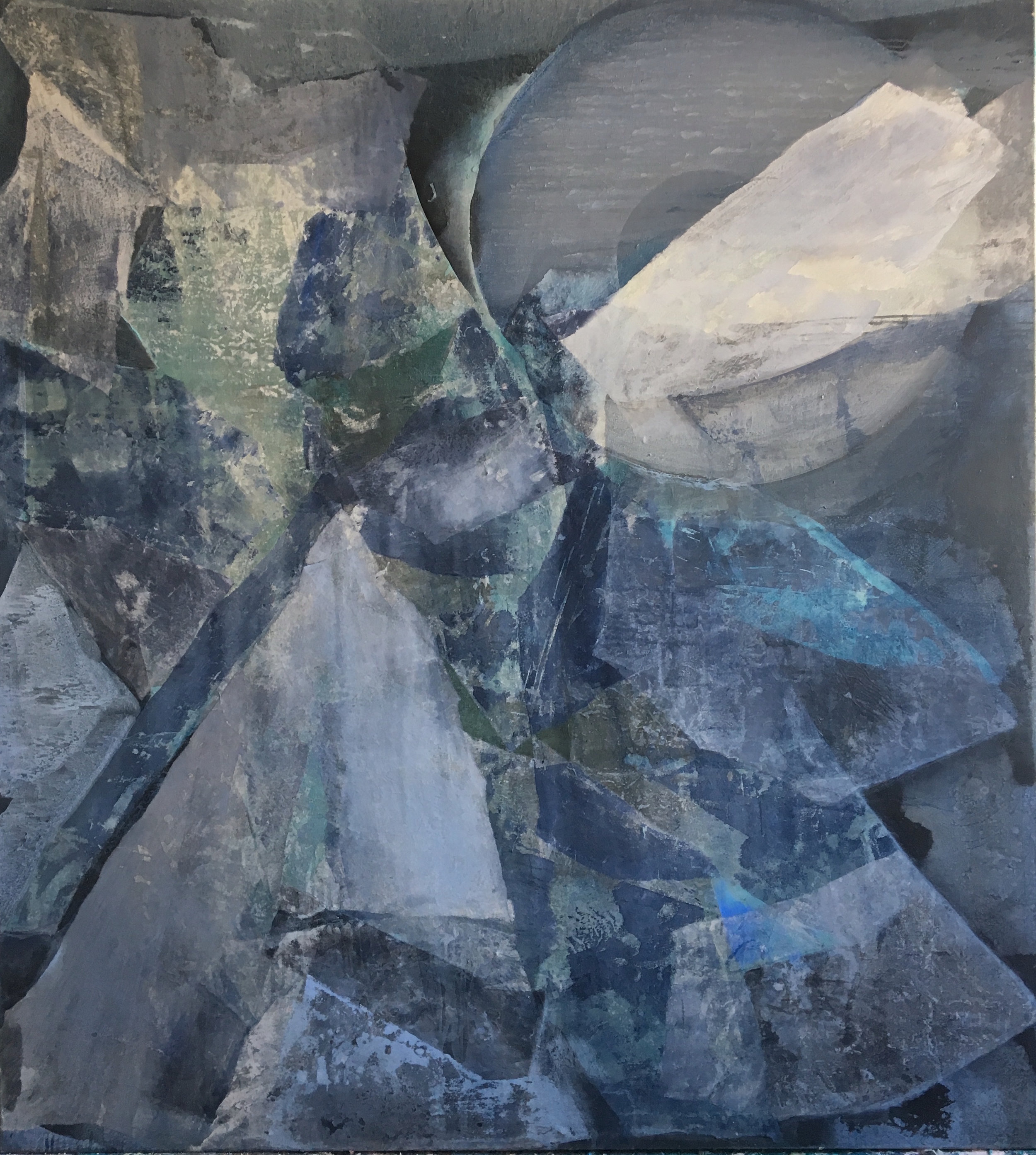 SoHyun Bae, Wrapped Shards: Scholar's Cloak, 2003, rice-paper and pure pigment on canvas, 81 x 70 inches