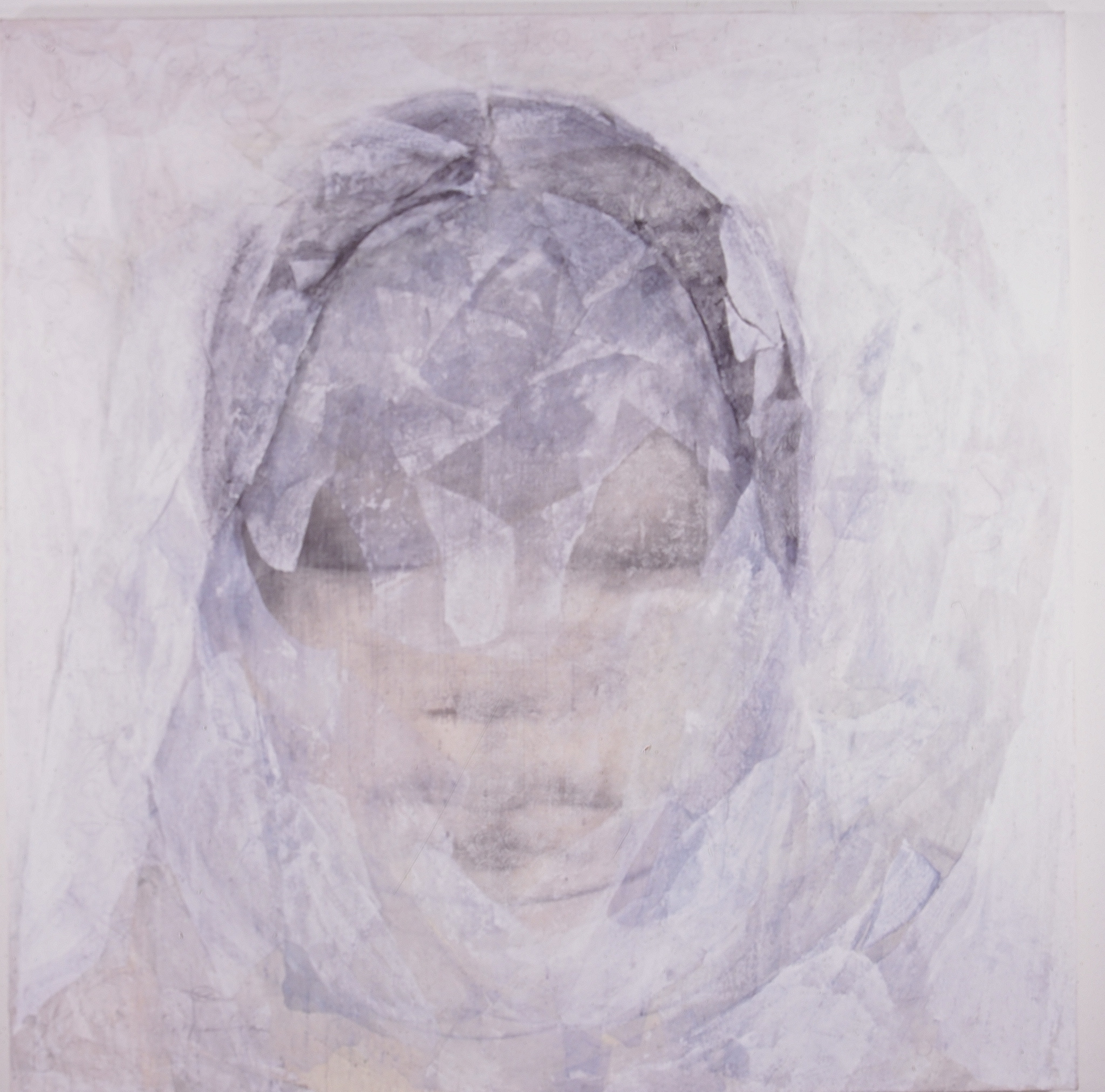 SoHyun Bae, A Woman of Josun Dynasty: Colossal Head IV, 1998, charcoal, rice-paper and pure pigment on canvas, 81 x 81 inches