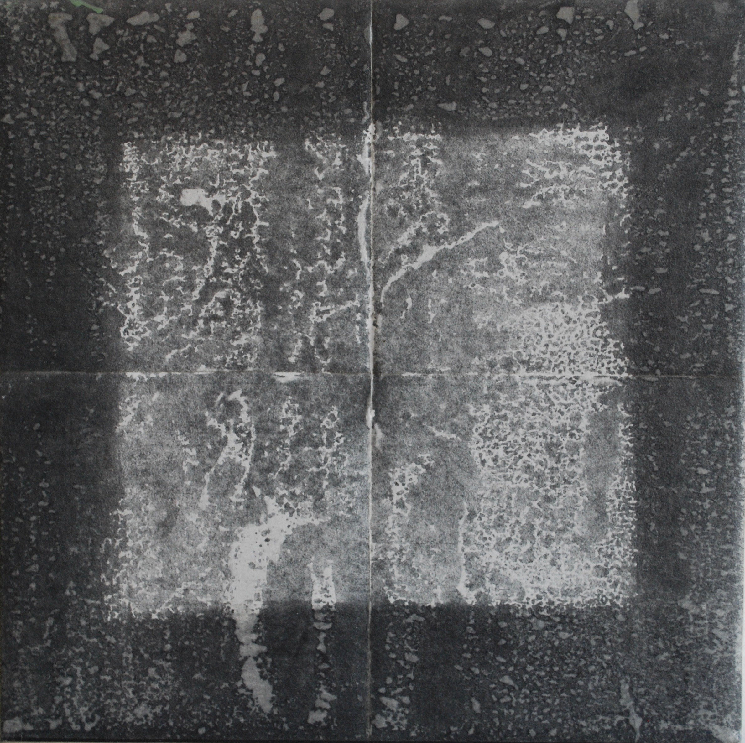 SoHyun Bae, Bojagi #2, 1999, rice-paper on sand-paper on canvas, 18 x 18 inches