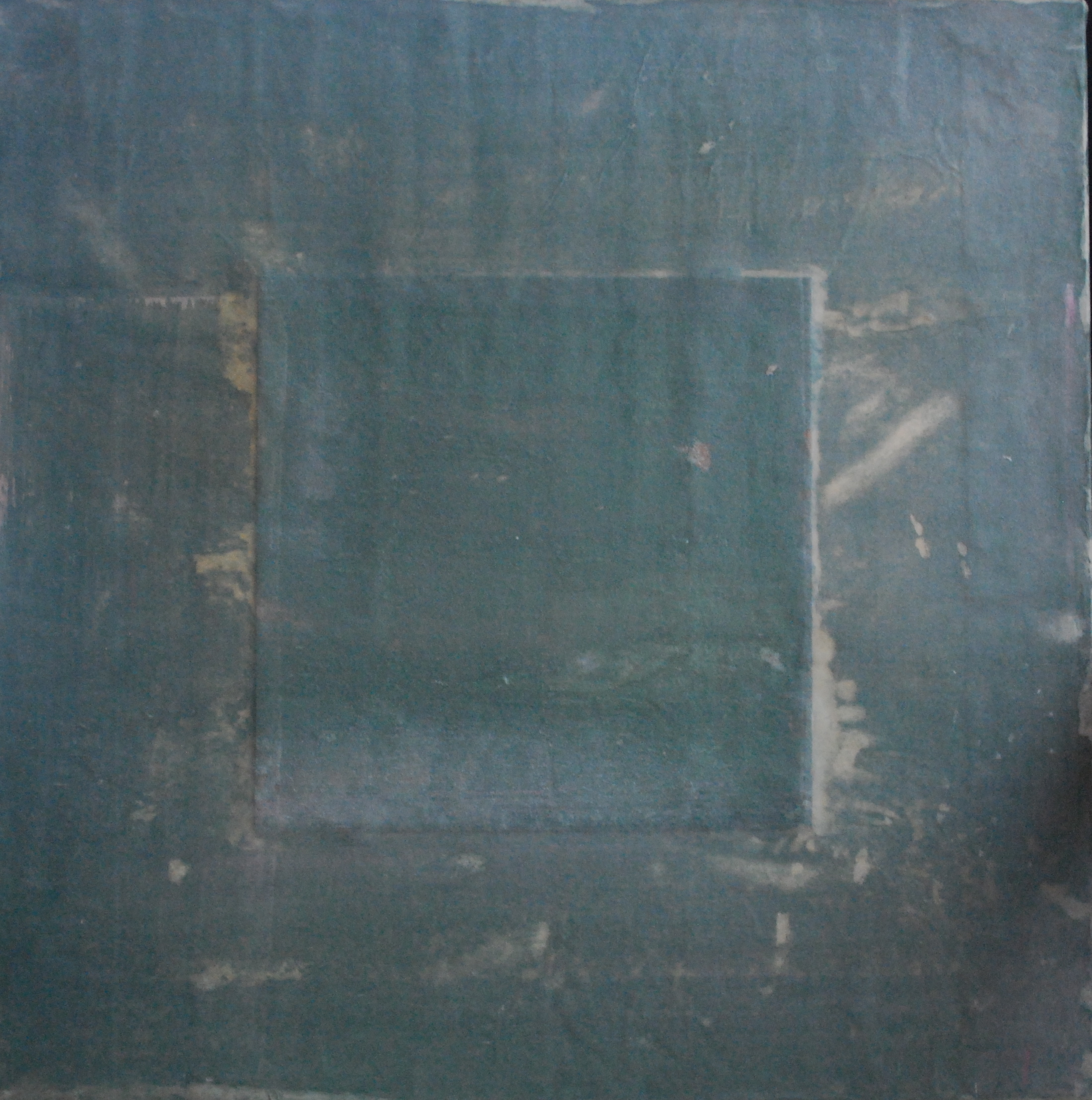 SoHyun Bae, Bojagi #1, 2003, pure pigment, rice-paper on sand-paper on canvas, 18 x 18 inches