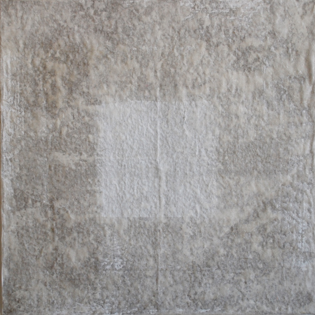 SoHyun Bae, Bojagi #8, 2002, rice-paper on sand-paper on canvas, 18 x 18 inches