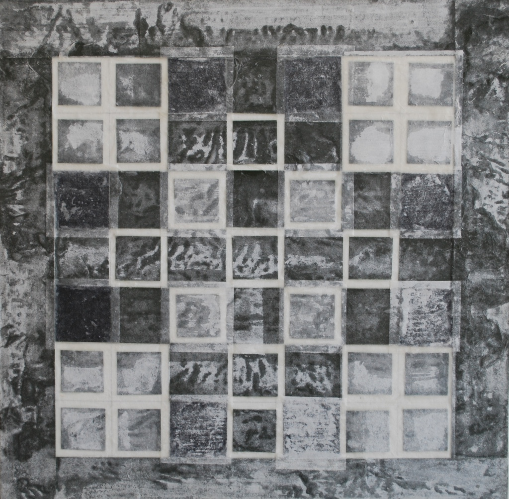 SoHyun Bae, Bojagi #9, 1997, rice-paper on sand-paper on canvas, 18 x 18 inches