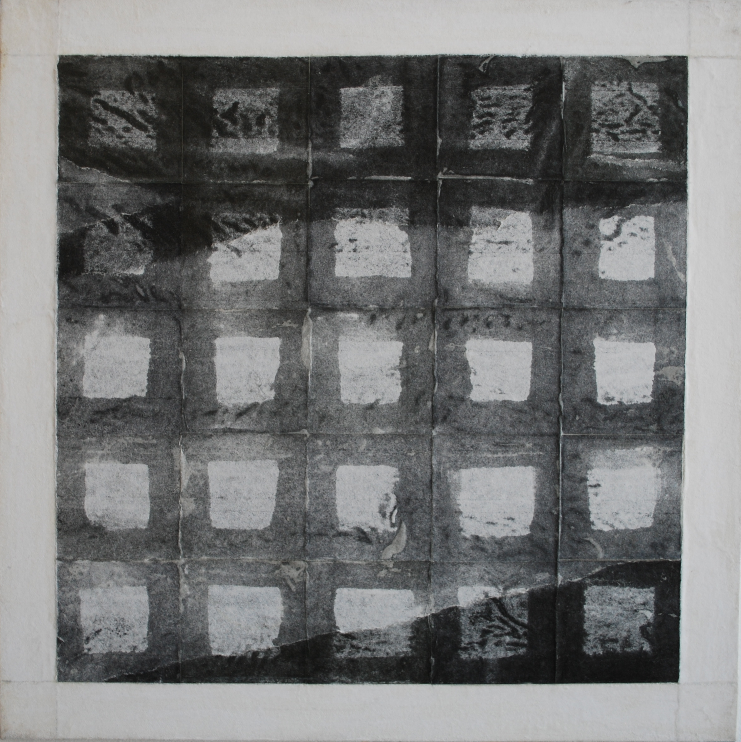SoHyun Bae, Bojagi #12, 1997, rice-paper on sand-paper on canvas, 18 x 18 inches