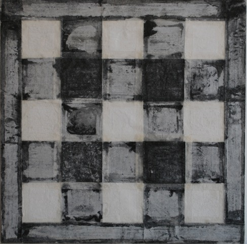 SoHyun Bae, Bojagi #13, 1997, rice-paper on sand-paper on canvas, 18 x 18 inches