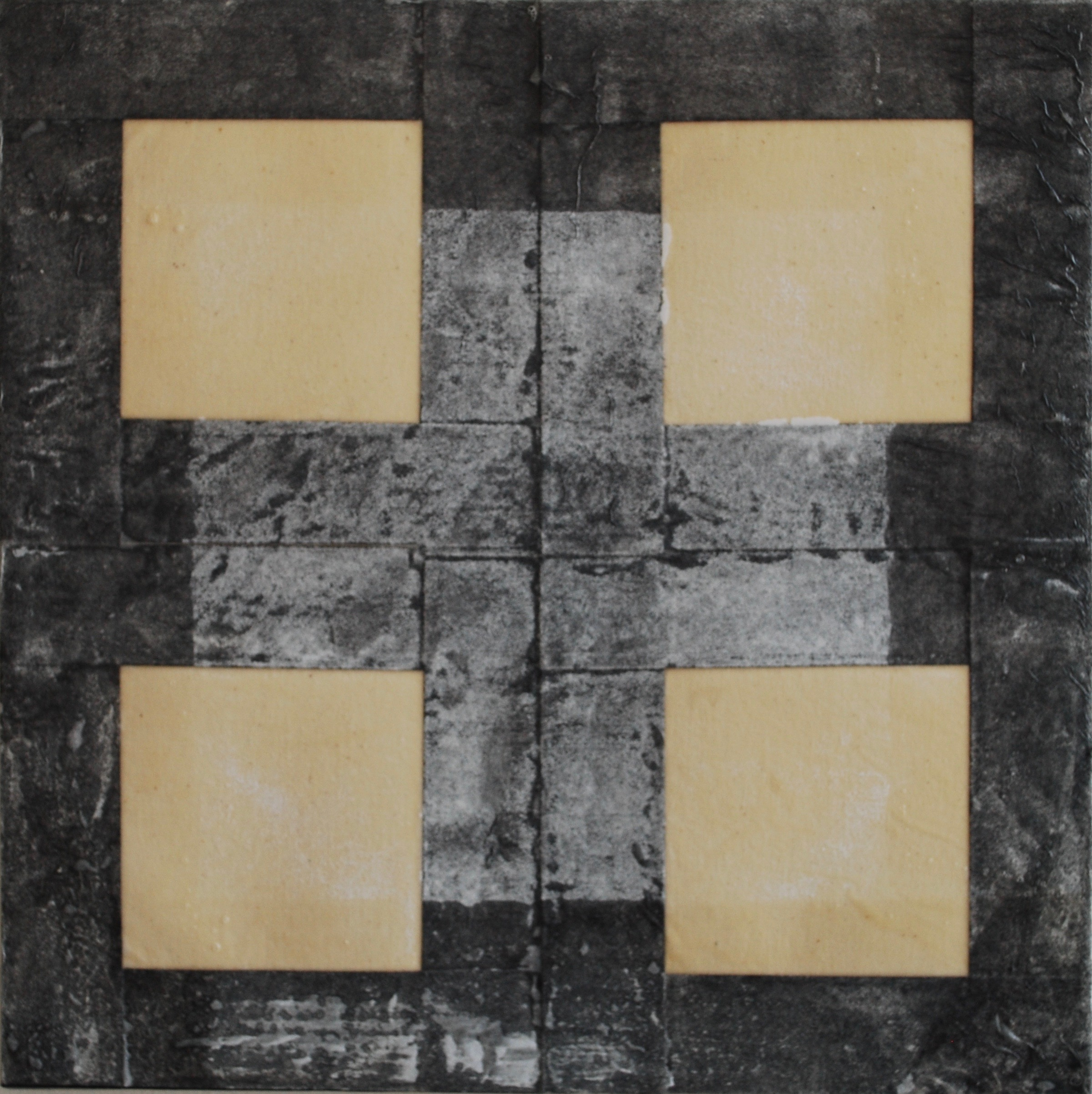 SoHyun Bae, Bojagi #13, 2001, rice-paper on sand-paper on canvas, 18 x 18 inches