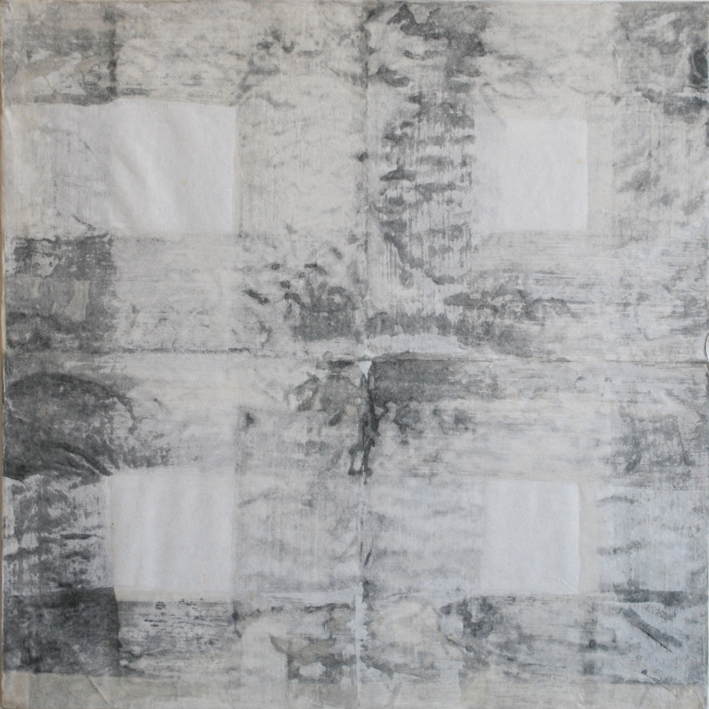 SoHyun Bae, Bojagi #7, 1999, rice-paper on sand-paper on canvas, 18 x 18 inches