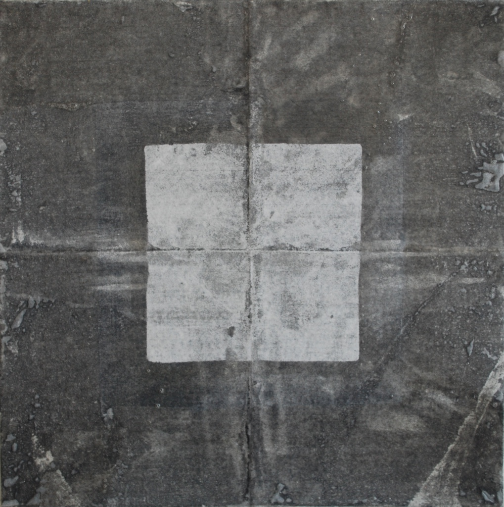 SoHyun Bae, Bojagi #6, 1999, rice-paper on sand-paper on canvas, 18 x 18 inches