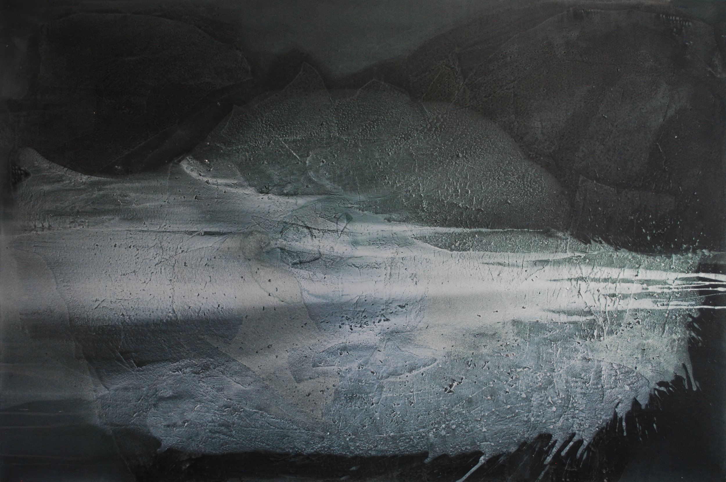 SoHyun Bae, Jasper Lake II, 2014, rice-paper and pure pigment on canvas, 72 x 108 inches