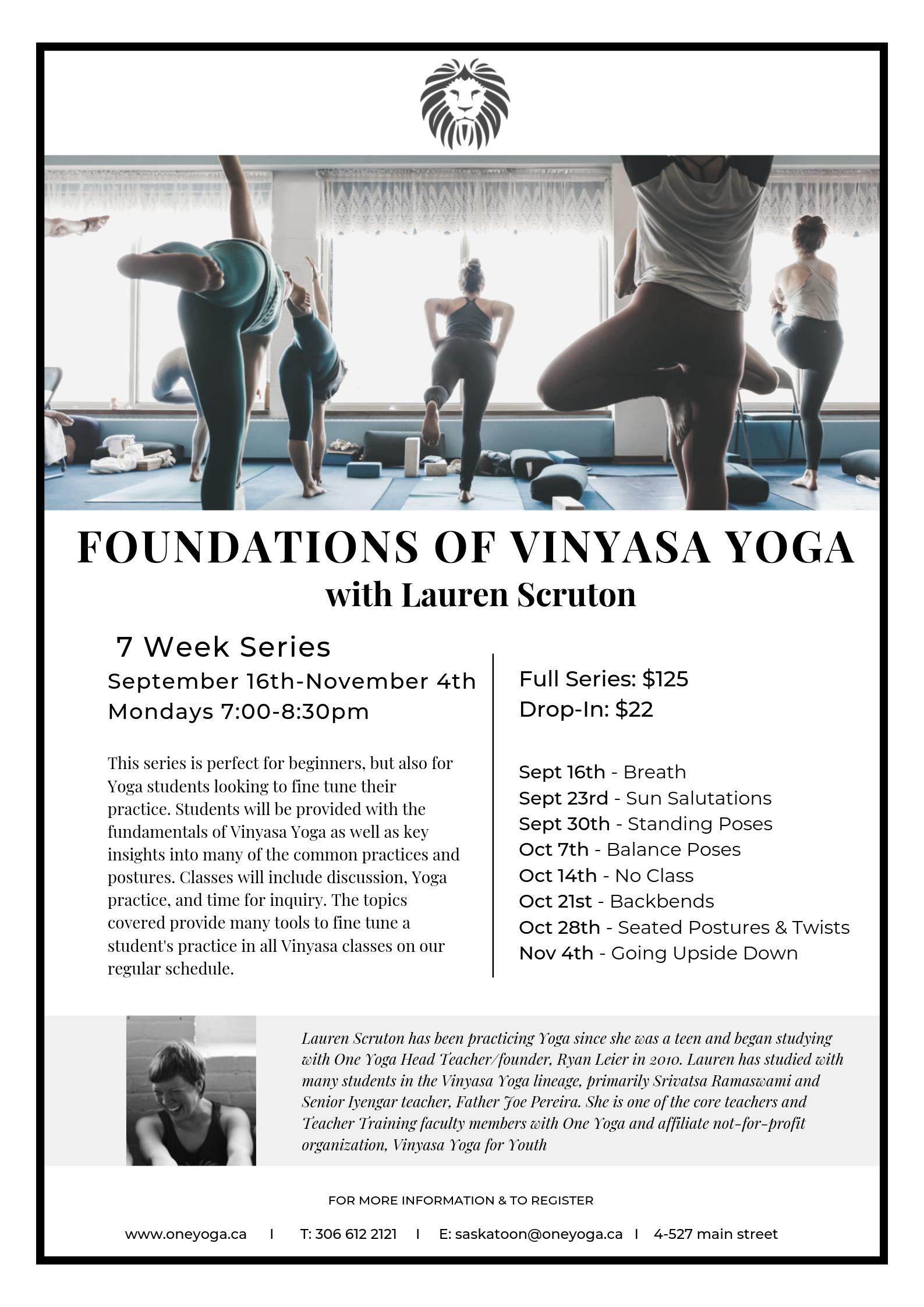 Foundations Of Vinyasa Yoga One Yoga Saskatoon