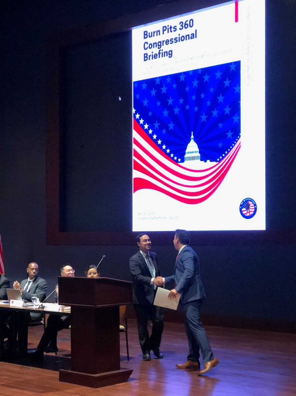 April 30, 2019, Washington D.C. — Rep. Joaquin Castro & Eric Holguin at Burn Pits Congressional Briefing