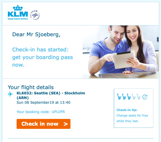 The email I got the day before my flight cropped to only include the top part.