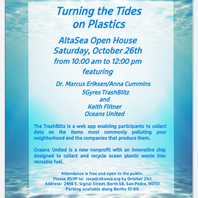 AltaSea Open House will feature @5gyres and @officialoceansunited Definitely stop by and see the area where a new marine educational facility will be built over the next year. Don't forget to RSVP at rsvp@altasea.org - see you there! #community #circulareconomy #sustainableimpact #circulaireeconomie #oceanpollution #recycleplastic #sdgs #action #island
