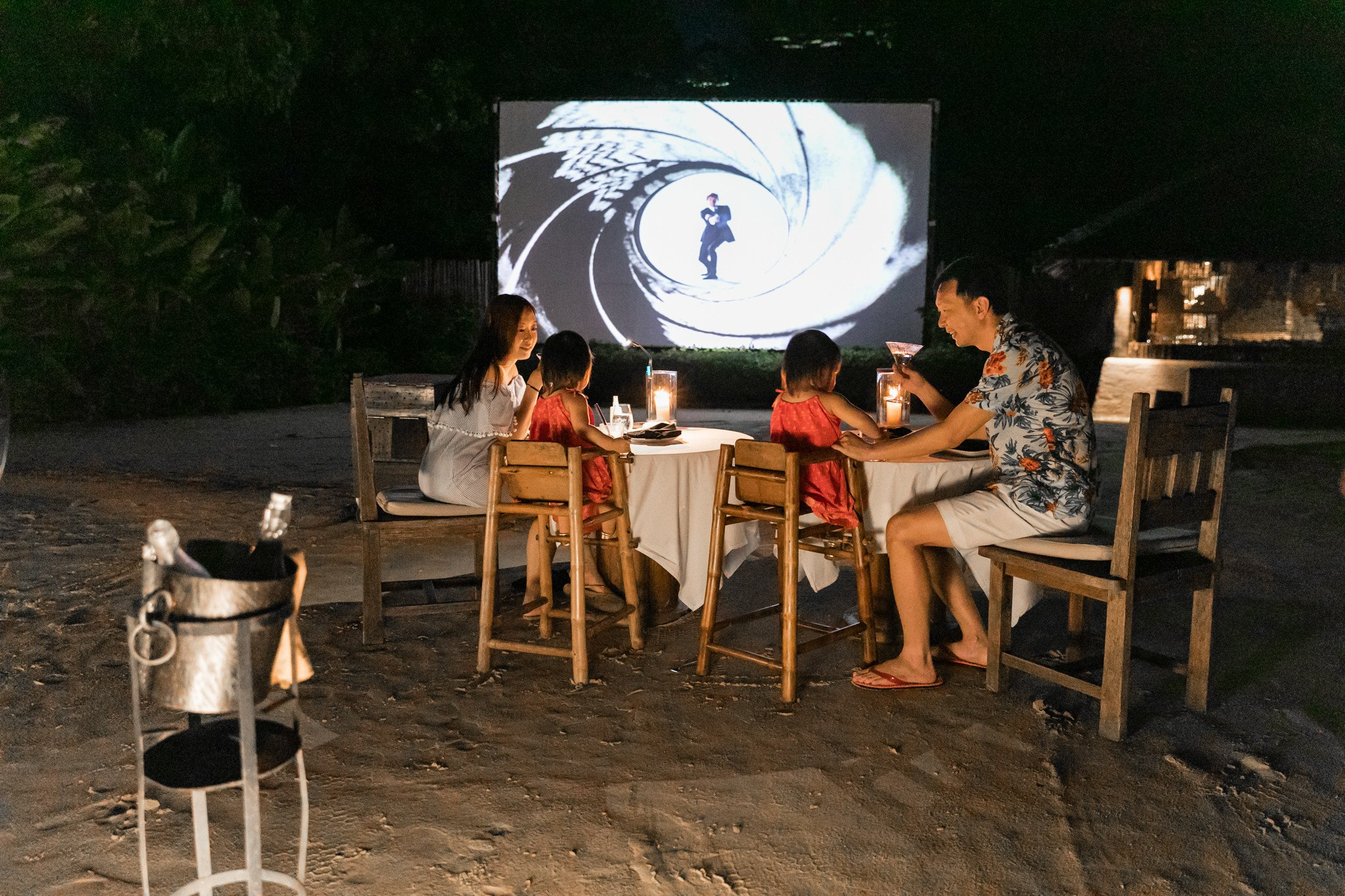 Our first beach dining movie experience as a family, catching the 1974 James Bond classic. The girls sat through and enjoyed the action-packed film, no fuss. All under the stars!