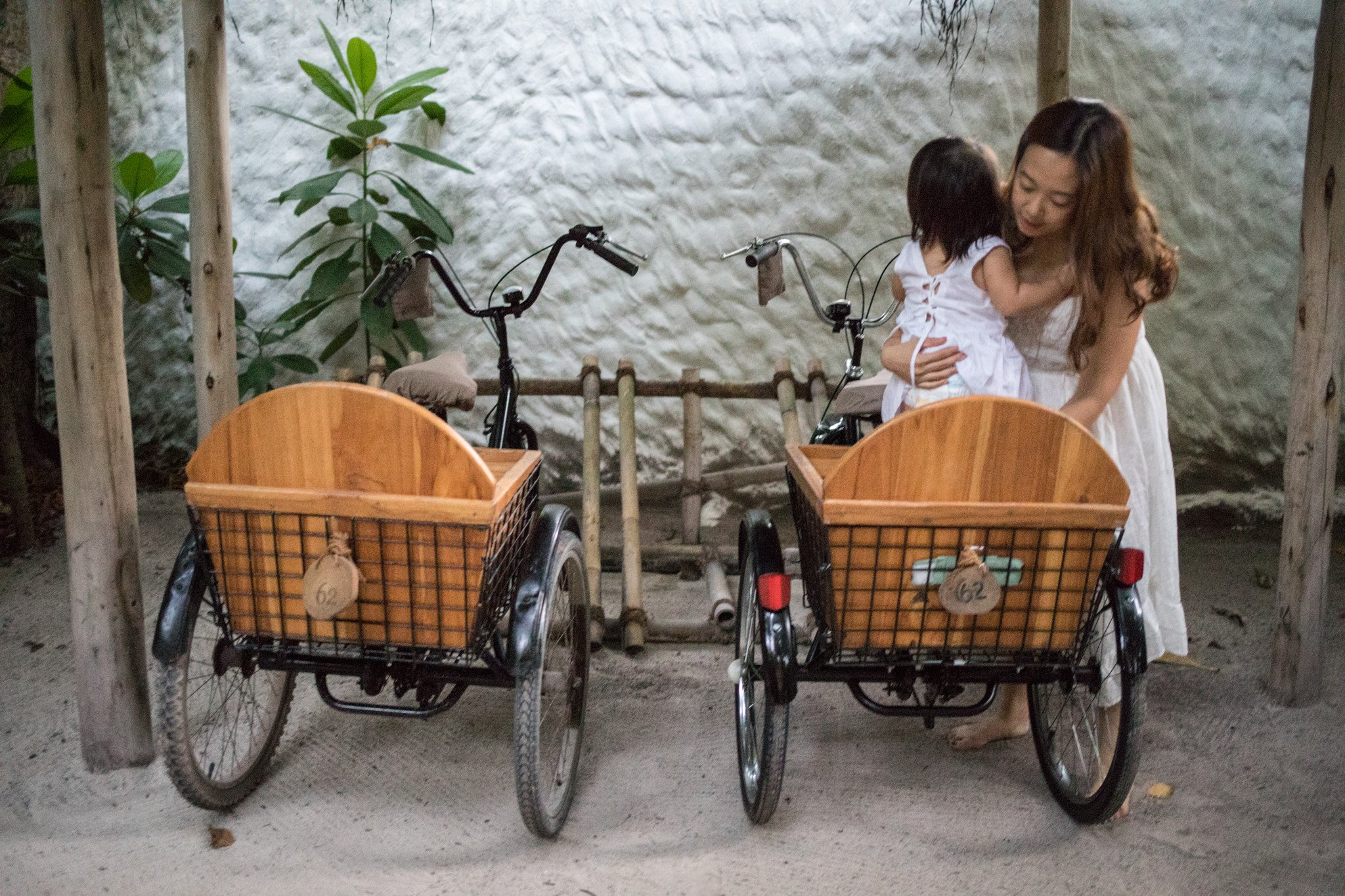 Mode of transport around the island- tricycles with a cushioned baby seat. How thoughtful of you Soneva!