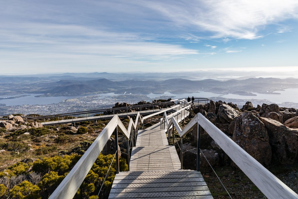 Morning view over Mount Wellington, a mighty steep and long drive up!
