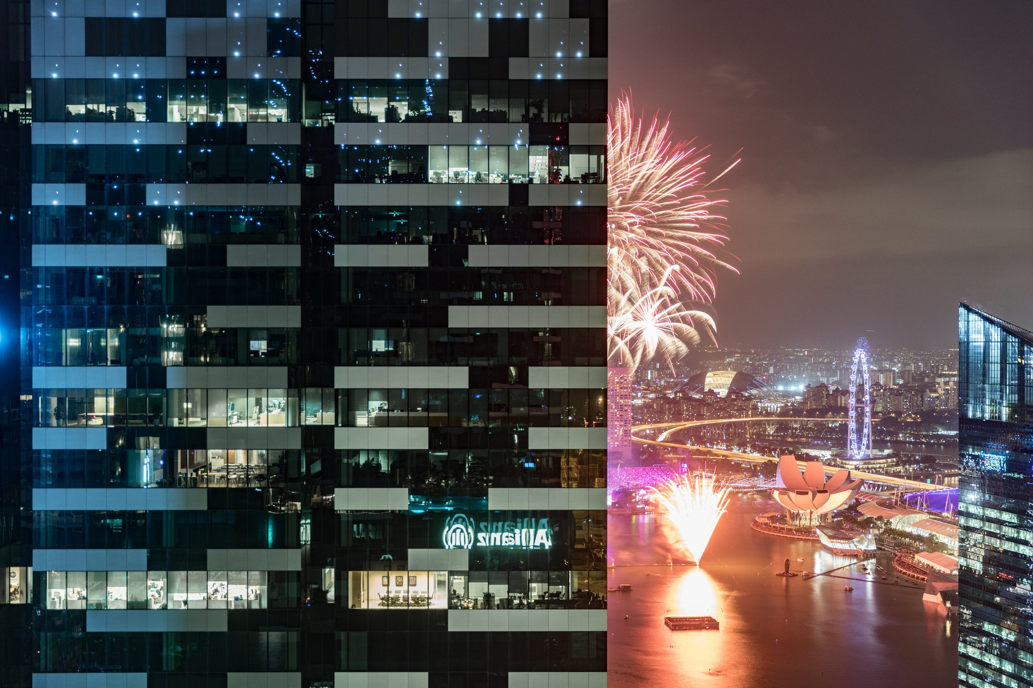 Coincidentally it was the NDP rehearsal so we were able to catch part of the fireworks from our bayview room.