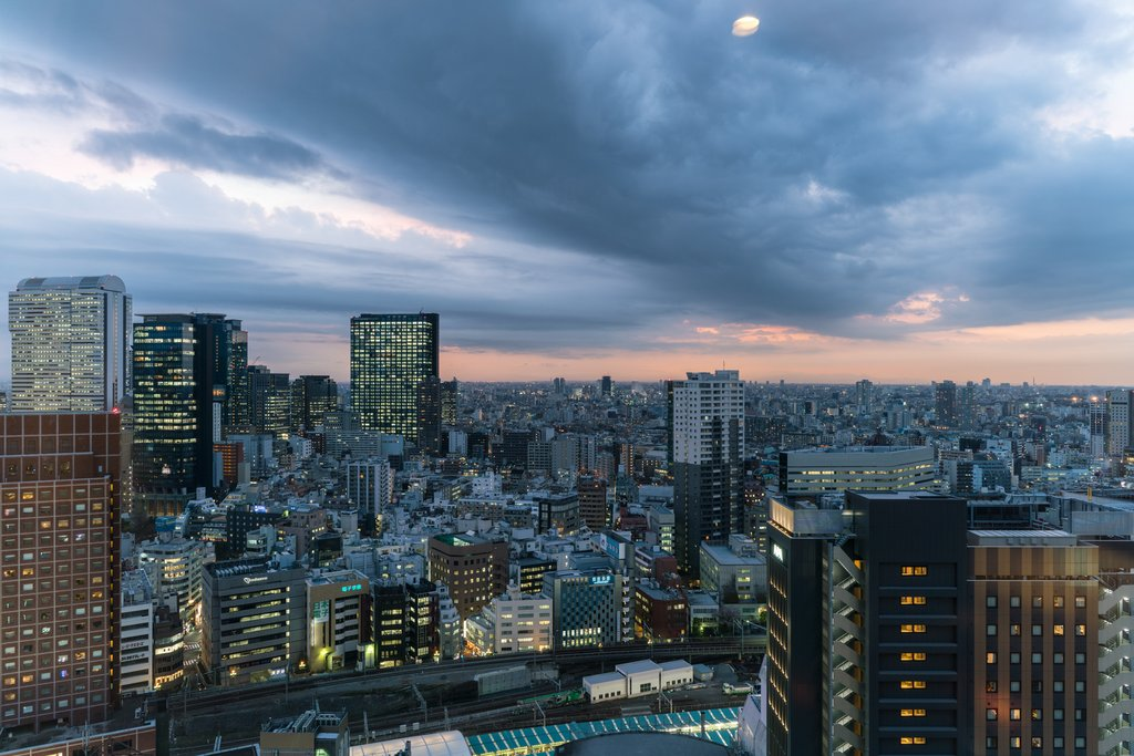 Hello Tokyo!  Cityscape view from our Godzilla-themed Gracery Hotel in Shinjuku.