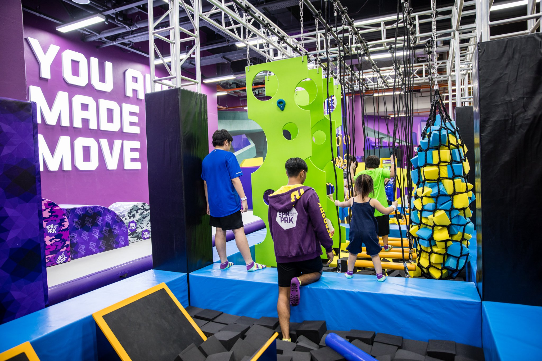 Ninja track, a kids-friendly version of the Ninja Warrior obstacle course.