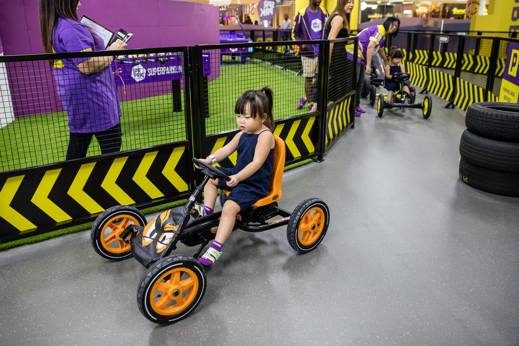 Race round the track with designated pedal cars for both adults and kids.