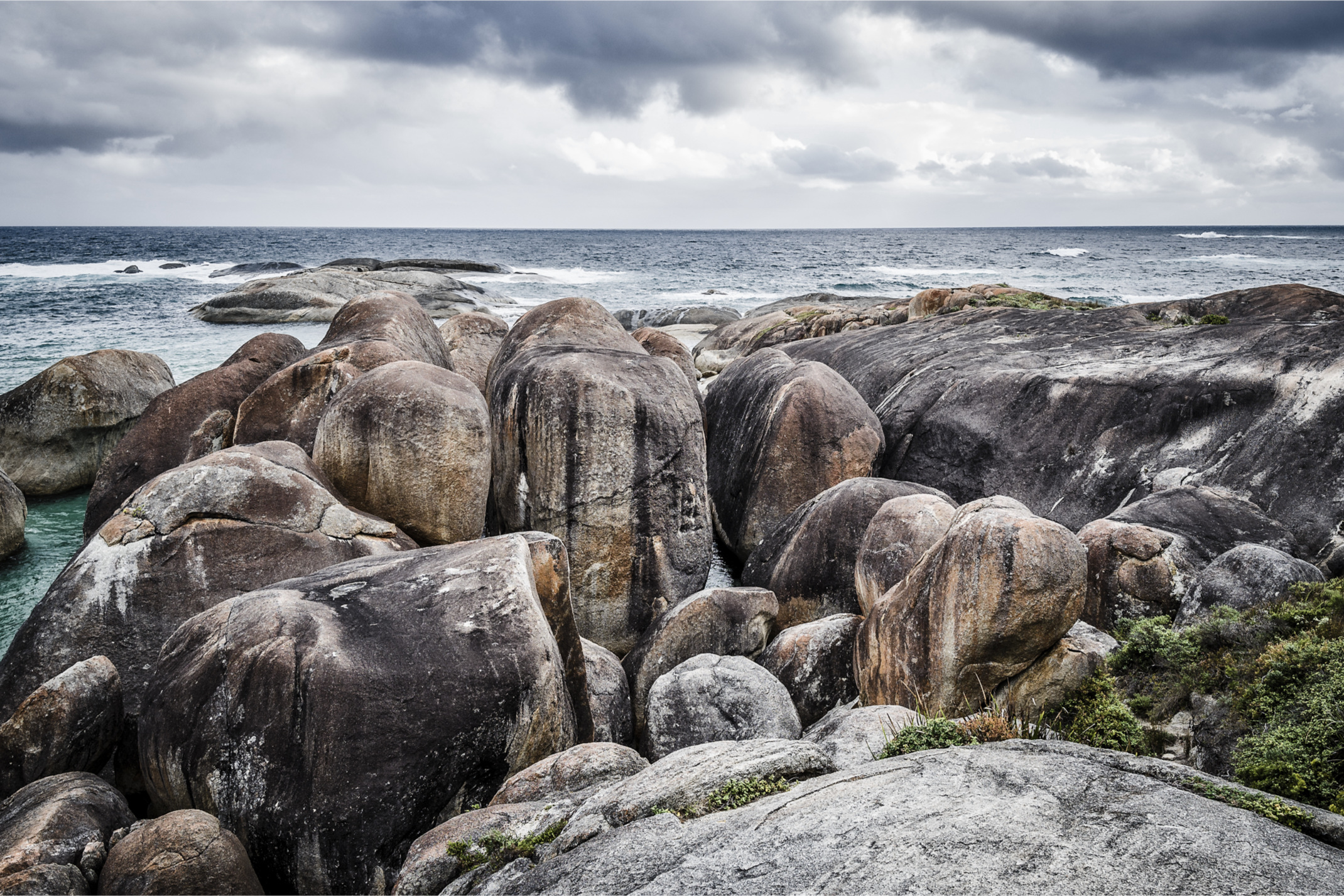 Elephant Rocks  is a sheltered beach in Western Australia, a few hundred metres east of Greens Pool. It is located about 15 km west from Denmark, in William Bay National Park. Its name is derived from a series of exposed rocks, which from several angles resembles a herd of elephants.