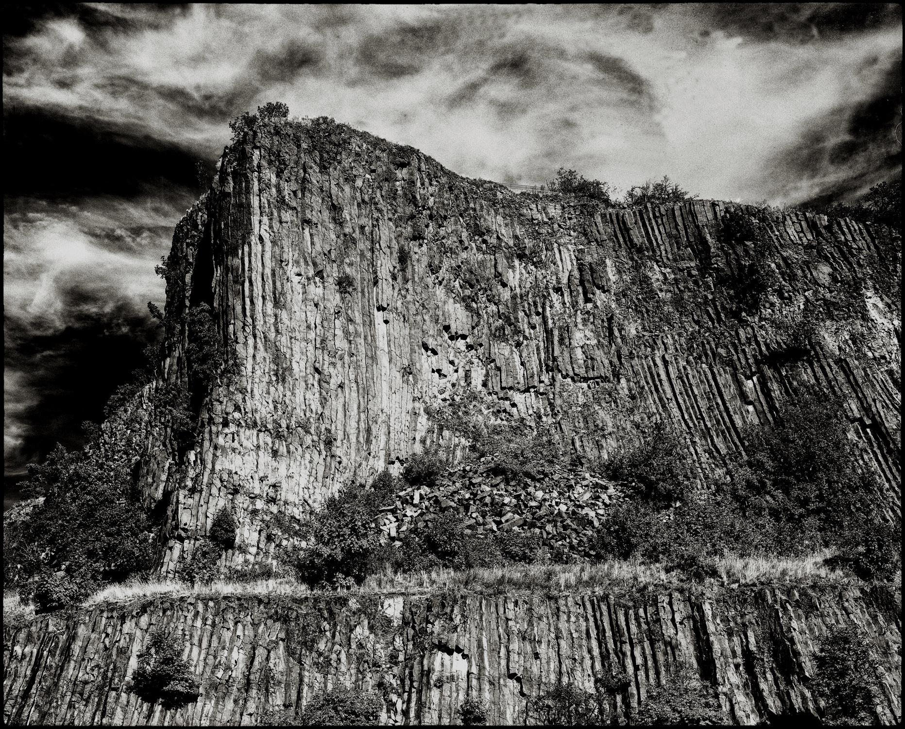 Volcanic basalt rock of Hegyestű (Pointed Needle), Balaton National Park, Lake Balaton, Hungary.
