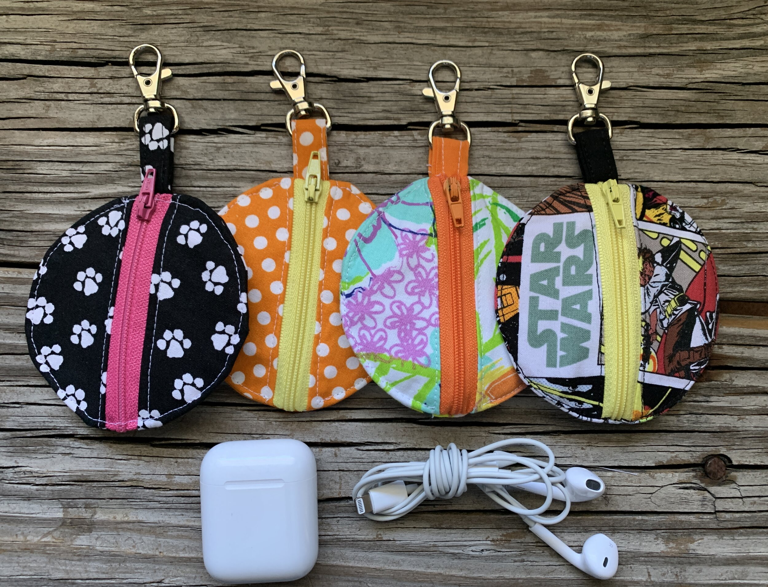 Earphone pouches to clip anywhere. These work great for traditional earphones as well and wireless air pods.