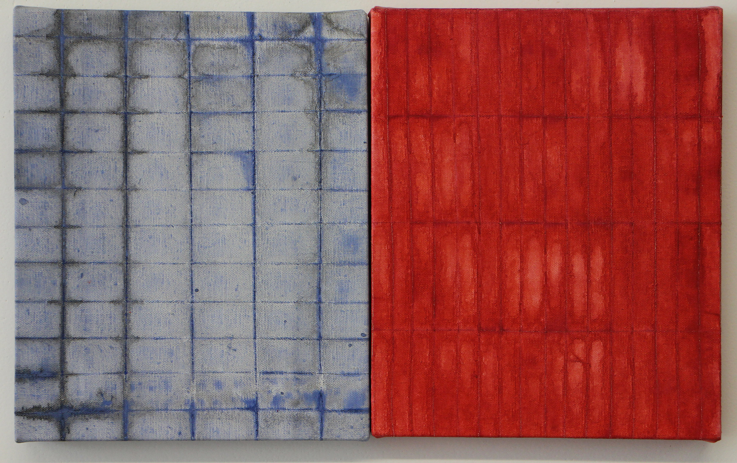 Red/Blue Fold Painting (Pair)