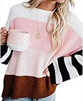 Basil & Turmeric   Women's Striped Color Block Loose Casual Long Sleeve Knit Pullover Sweater Tops Pink