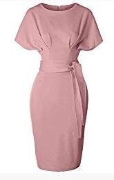 Basil & Turmeric   GownTown Women's 50s 60s Vintage Sexy Fitted Office Pencil Dress Pink