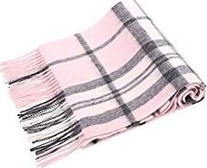 Basil & Turmeric   ANDORRA Soft Luxurious Cashmere Winter Scarf with Gift Box,Pink/Grey Plaid