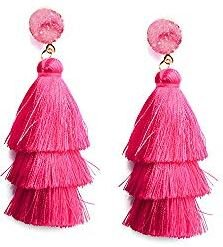 Basil & Turmeric   Women's Hot Pink Tassel Earrings Long Fringe Drop Dangle Layered Thread Tassel Tassle Earrings Statement Bohemian Jewelry