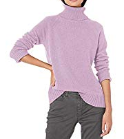 Basil & Turmeric | Amazon Brand - Goodthreads Women's Wool Blend Jersey Stitch Turtleneck Sweater, Lilac Heather, Medium