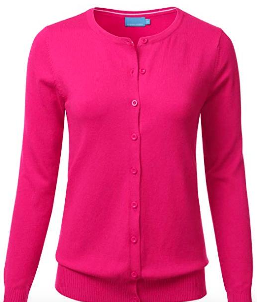 Basil & Turmeric | FLORIA Women's Button Down Crew Neck Long Sleeve Soft Knit Cardigan Sweater HOTPINK M