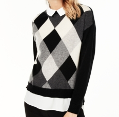 Basil & Turmeric | Charter Club Argyle Cashmere Layered-Look Sweater, Regular & Petite Sizes, Created for Macy's