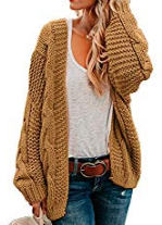 Basil & Turmeric | Dearlove Womens Cardigans Open Front Long Sleeve Chunky Cable Knit Sweaters Warm Cozy Winter Coats Outerwear Brown M